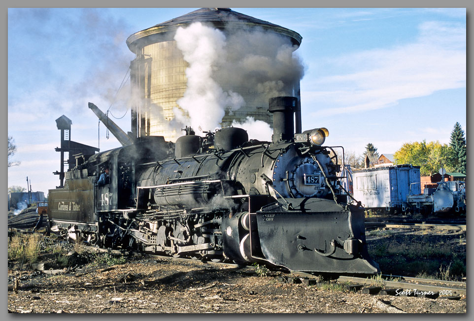 Photo: Cumbres Toltec #487 at the Chama, NM water tank