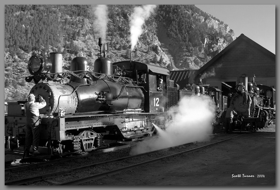 Photo: Georgetown Loop motive power being readied at Silverplume, CO