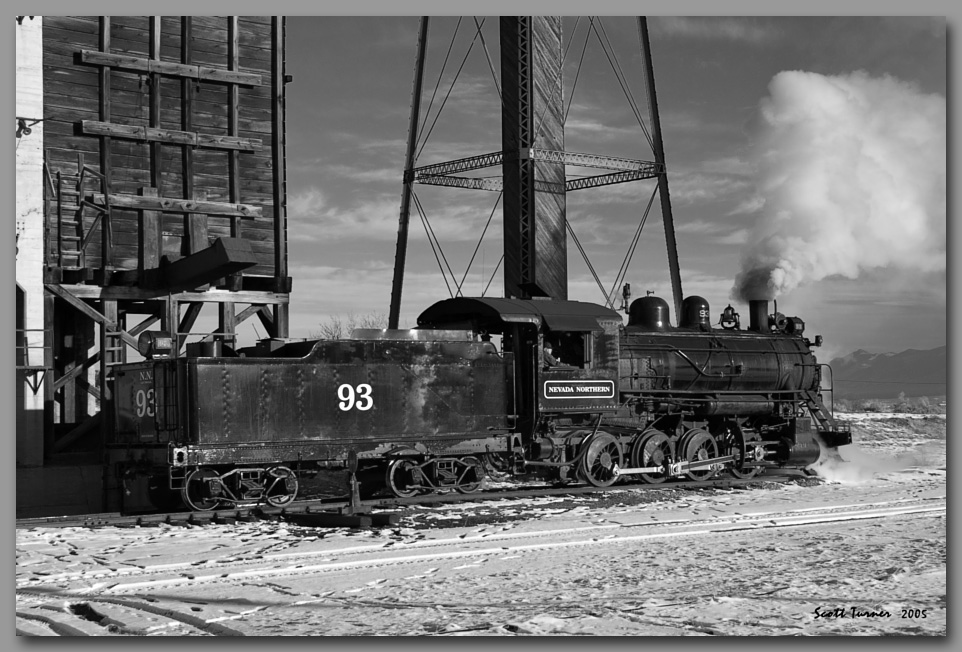 Photo: Nevada Northern #93 at coal tipple - East Ely, NV