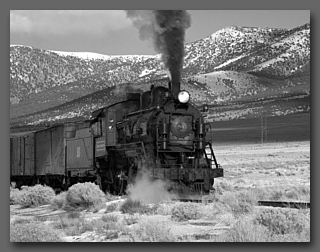 Nevada Northern Steam Locomotive #93 with mixed freight on the 'Highline' in the Steptoe Valley