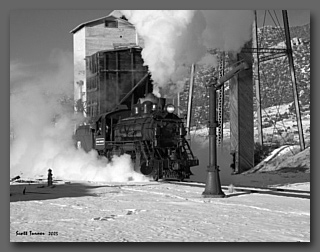 Nevada Northern Locomotive #93 steams towards a waterplug in the East Ely, NV yard.